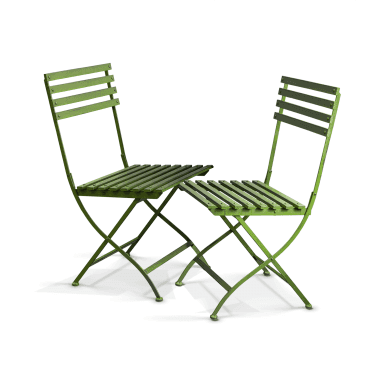 Wimbledon Handpainted Aged Metal Folding Chairs (Pair)