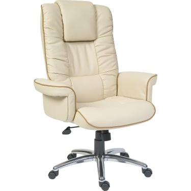 Windsor Cream & Tan Executive Armchair with Aluminium Base