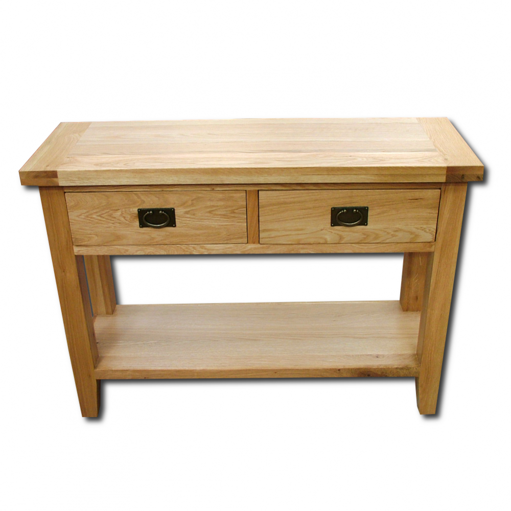 Wood+ Furniture Montpellier Solid Oak 2 Drawer Hall Table