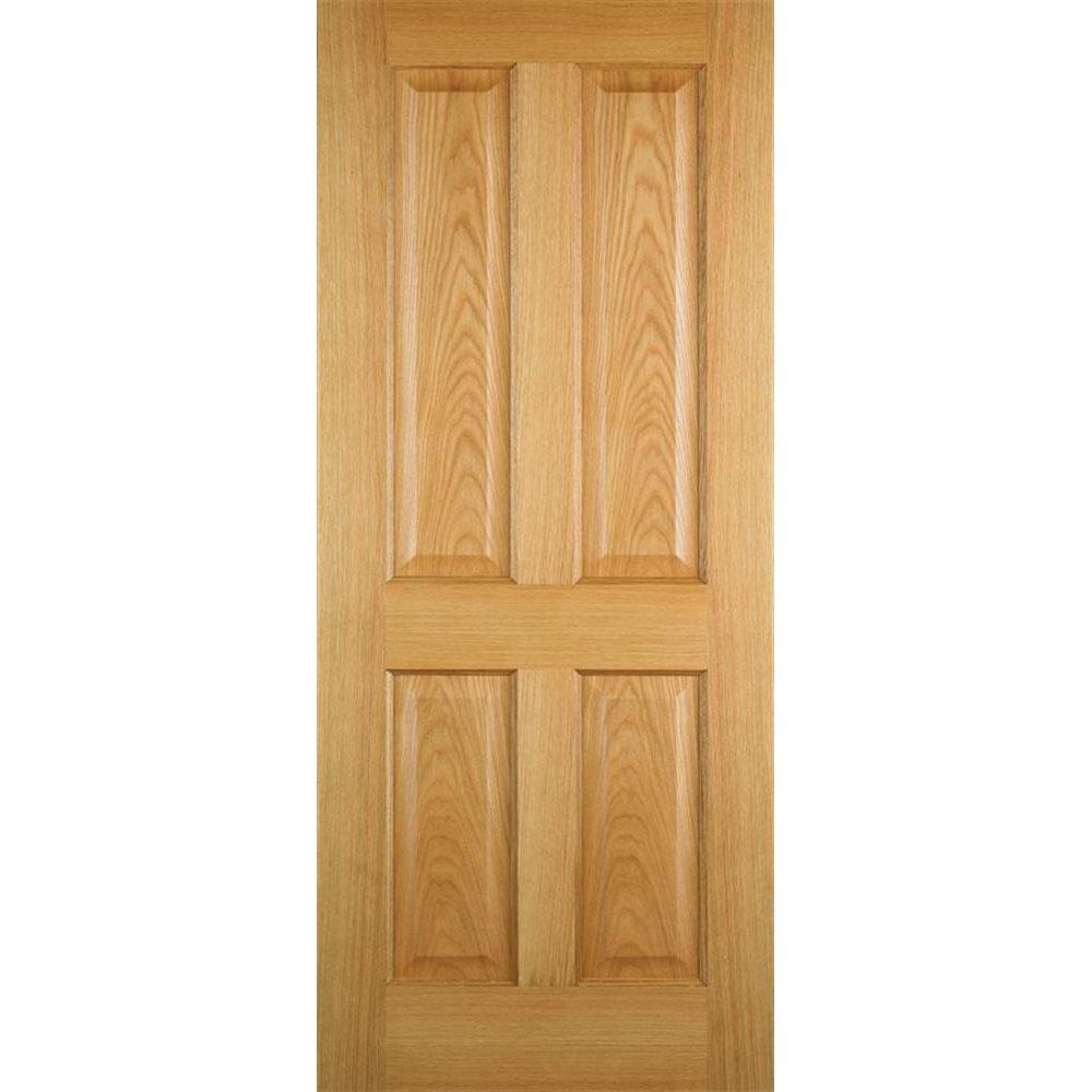 Wooddoor Internal Pre Finished Oak 4 Panel Door Leader Stores