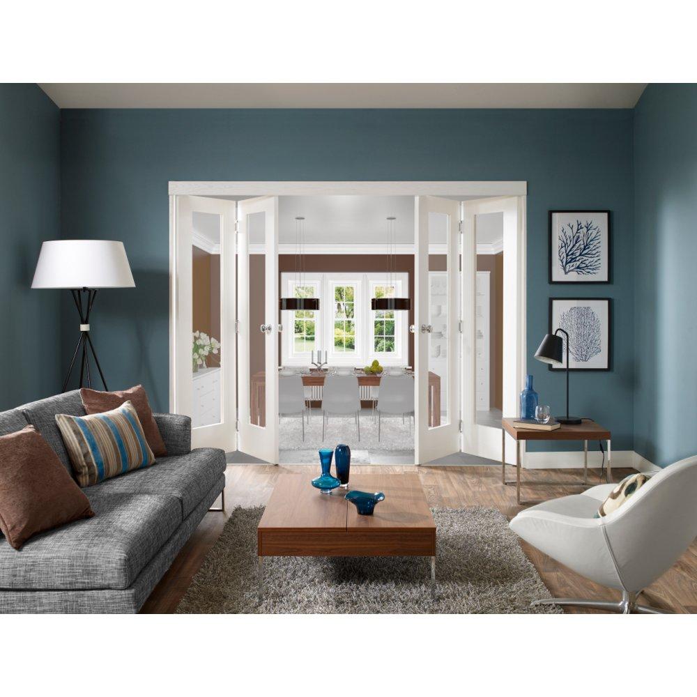 freefold white primed room divider shaker panelled folding door system
