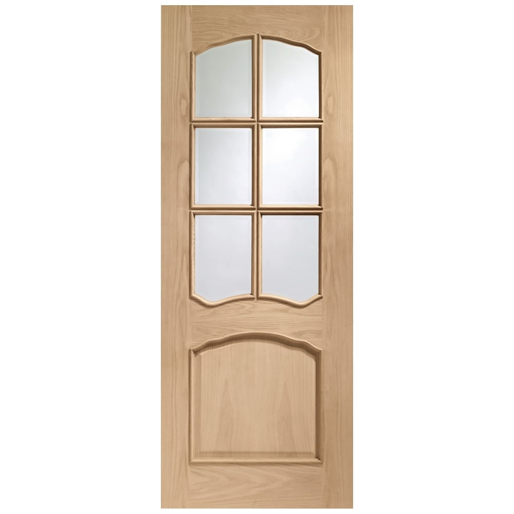 XL Joinery : Internal Fully Finished Oak Riviera Door with Clear Bevelled Glass and Raised ...