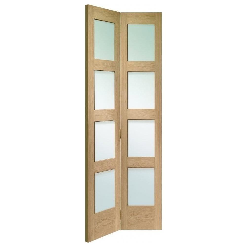 shaker un finished oak clear glass bi fold door at leader