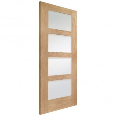 XL Joinery Internal Unfinished Oak Shaker 4 Panel Door with Obscure Glass