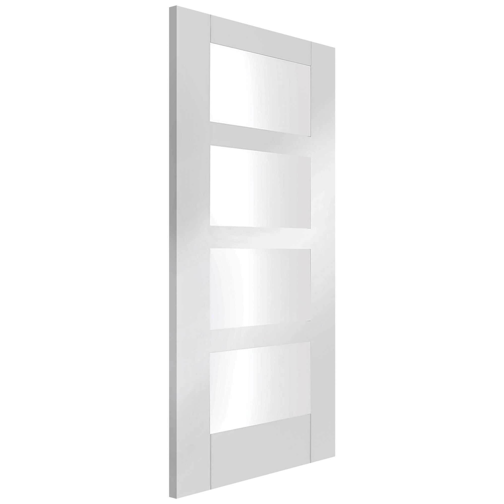 Xl joinery internal white primed shaker 4 panel with clear glass door