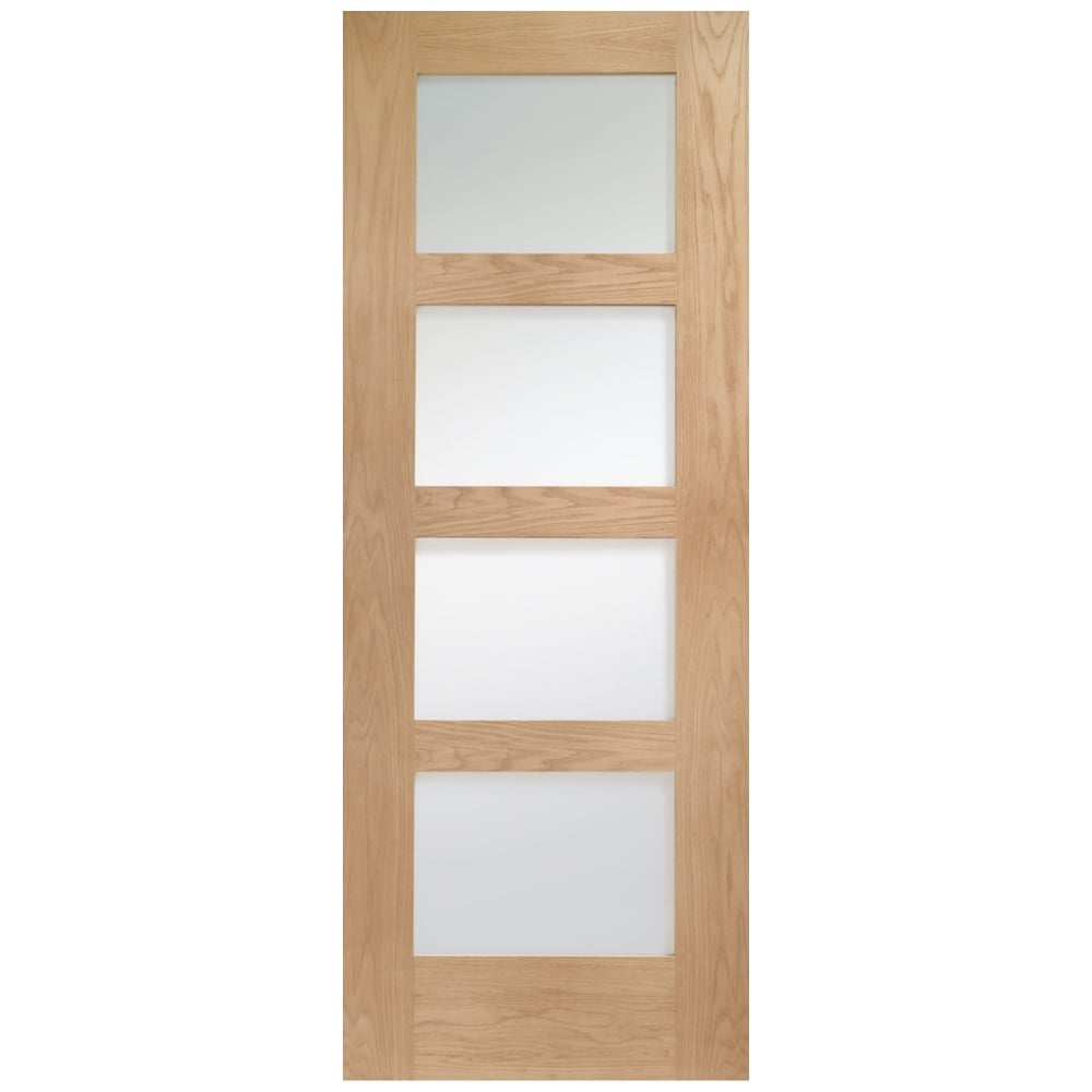 Shaker Un Finished Oak Clear Glass FD30 Fire Door At Leader Stores