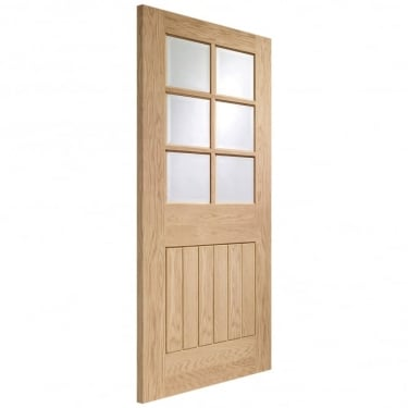 XL Joinery Suffolk Unfinished Internal Oak Door With Clear Bevelled Glass